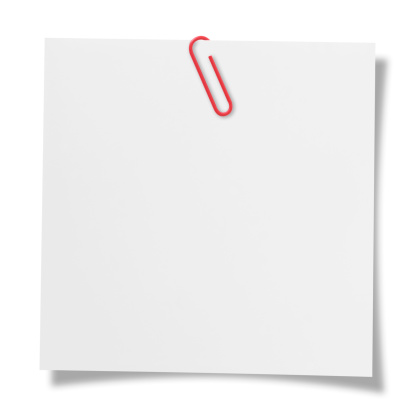 Blank note with paper clip.