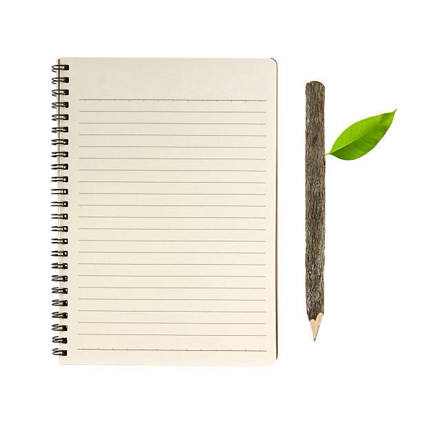 bloco de notas em branco e lápis de casca - folha de caderno imagens e fotografias de stock