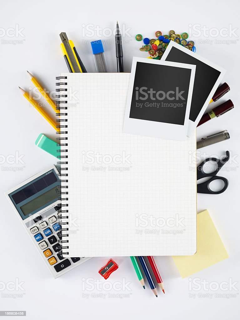 Blank Notebook and polaroids stock photo