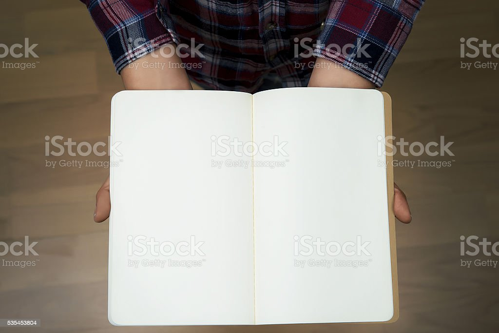 Blank notebook from above stock photo