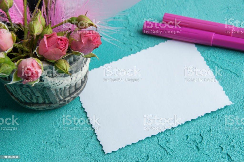 Blank notebook on aquamarine background royalty-free 스톡 사진