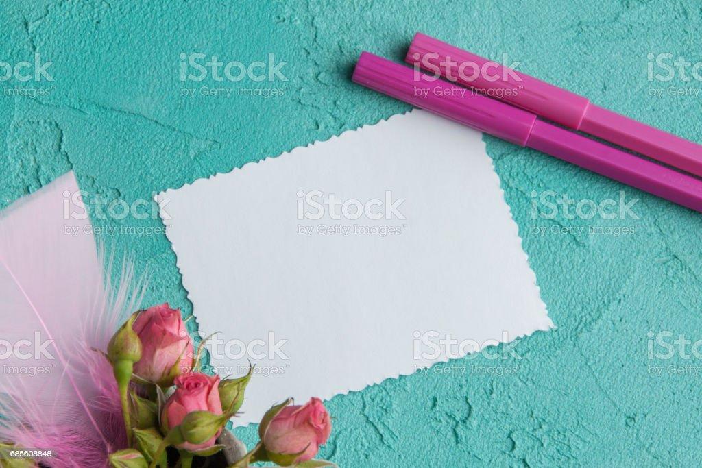 Blank notebook on aquamarine background Lizenzfreies stock-foto