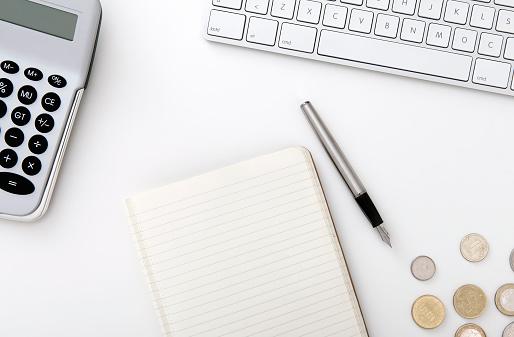 Blank notebook on business desktop