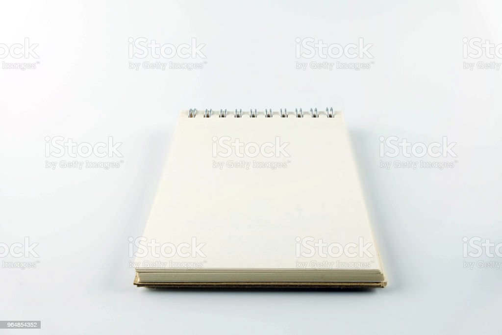Blank notebook on white background. royalty-free stock photo