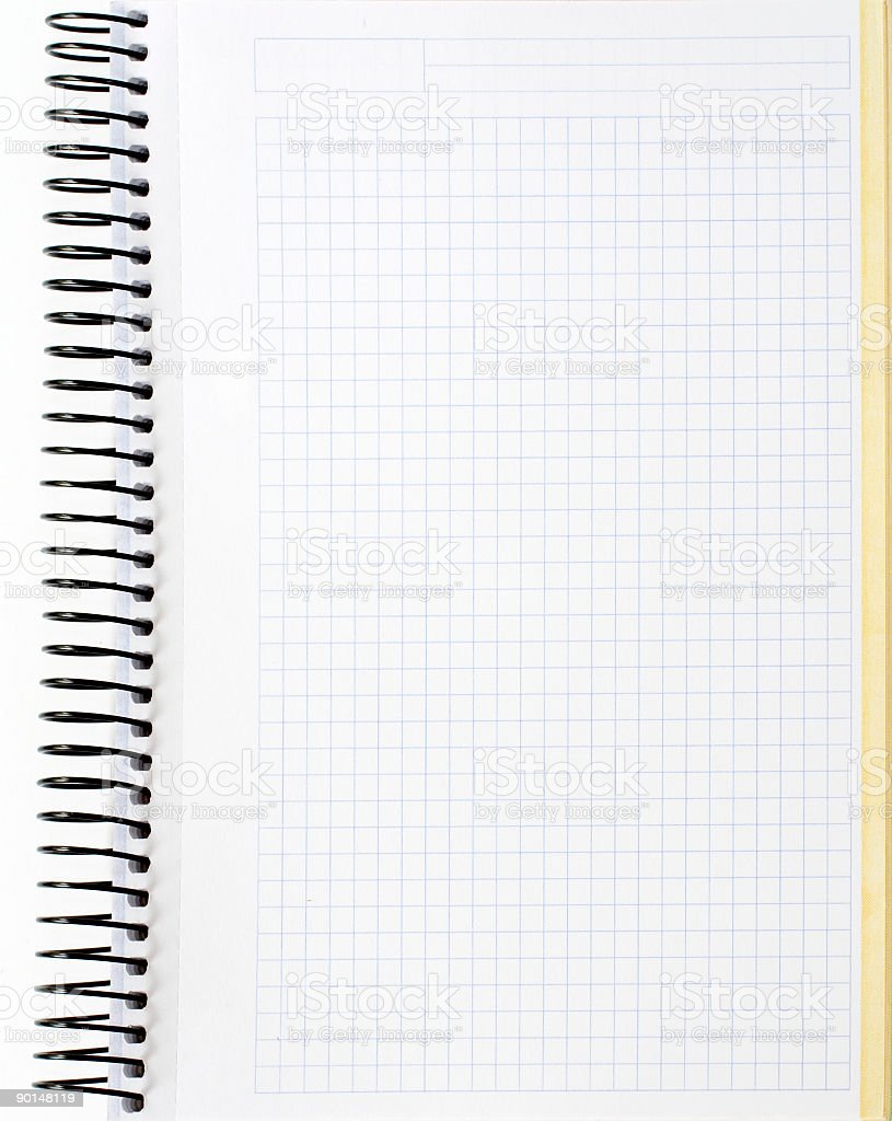 Blank notebook sheet stock photo