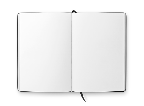 Open blank notebook with black ribbon bookmark isolated on white
