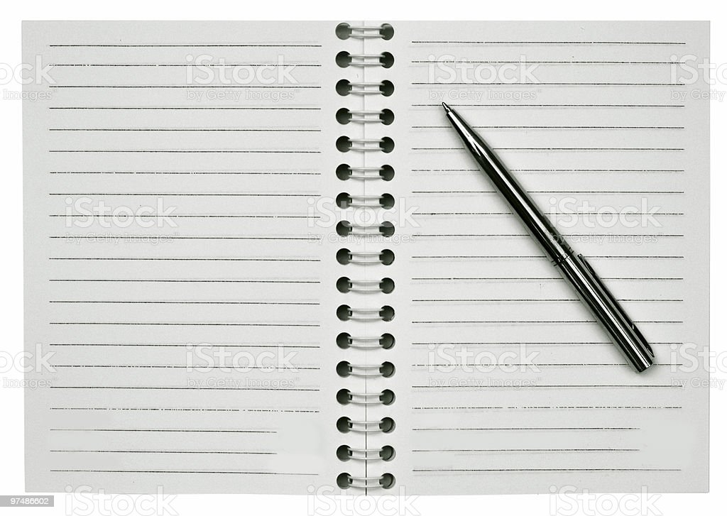 Blank notepad and one pen royalty-free stock photo