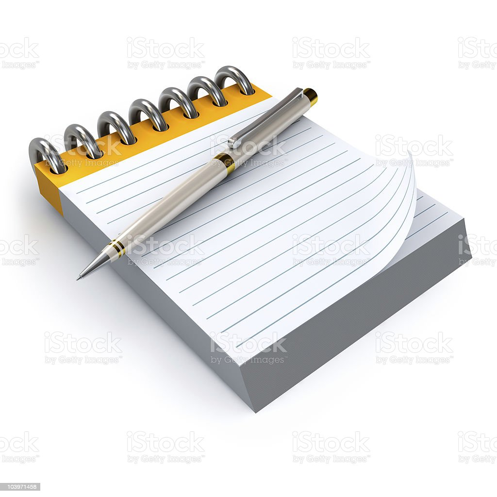 Blank notepad and pen. royalty-free stock photo