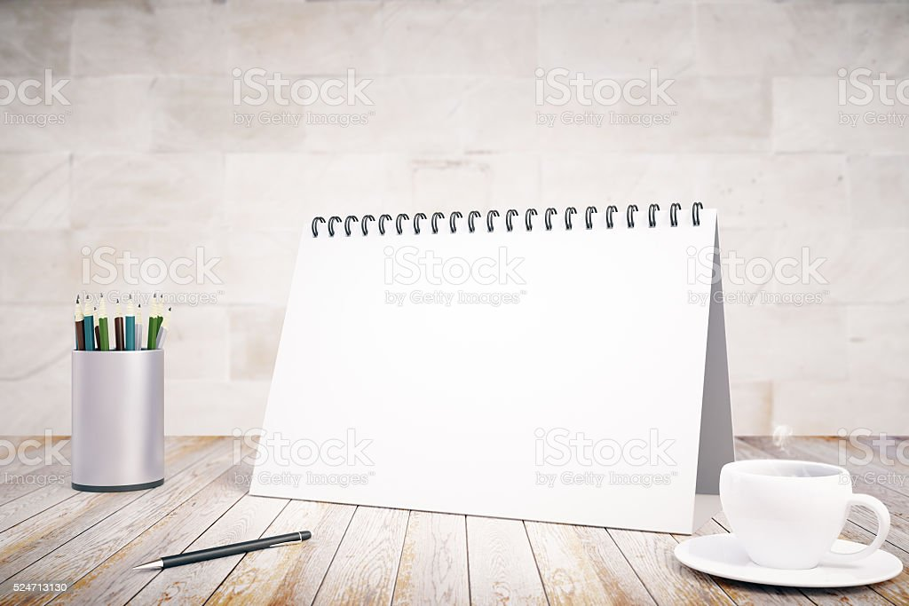 Blank notepad cover, cup of coffee and pen stock photo