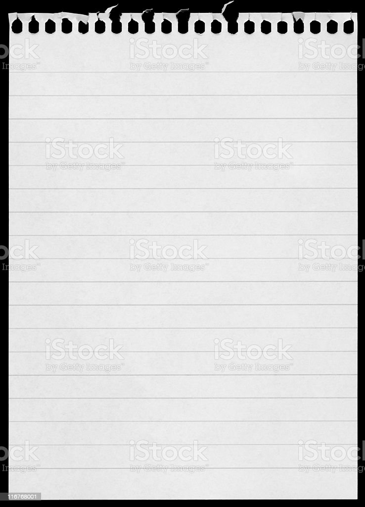 Blank notepad page isolated on black background royalty-free stock photo