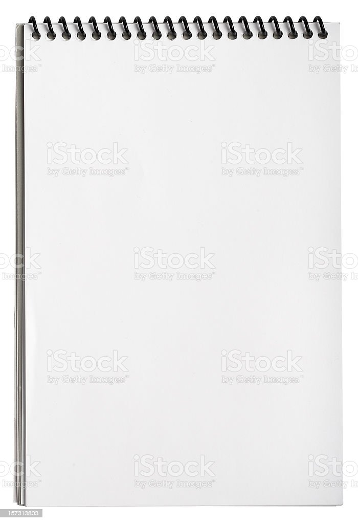 Blank notepad with clipping path, isolated on white stock photo