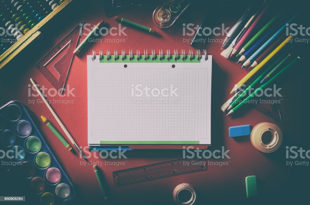 Blank notepad with school supplies, office stationery stock photo