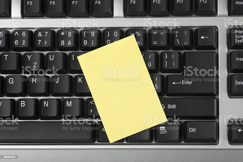 blank notepaper on keyboard royalty-free stock photo