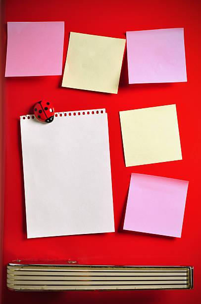 Blank notes on fifties fridge door, copyspace for message stock photo