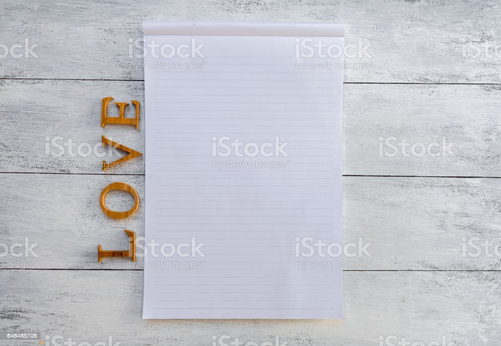 Blank notpad with love text stock photo