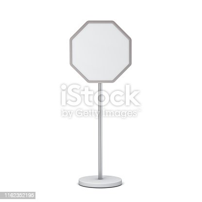 1094574474 istock photo Blank octagon sign with pole stand Blank mock up information signage board or advertising round billboard isolated on white background with shadow 1162352195
