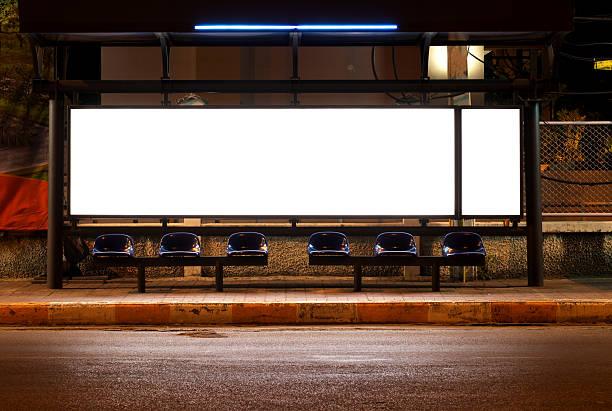 blank of billboards - bushalte stockfoto's en -beelden
