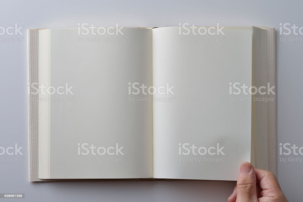 Blank of open book with cover on white background stock photo