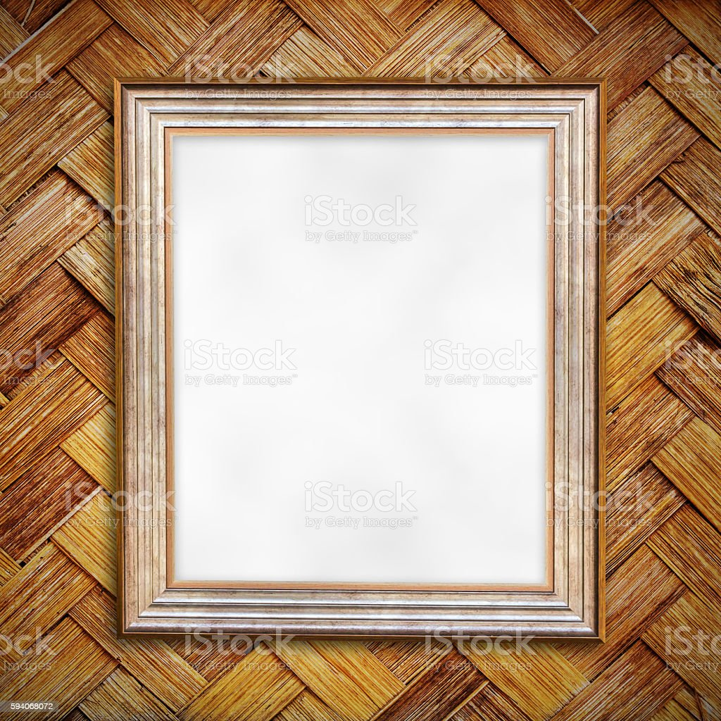 Blank of photo frame on old bamboo wall stock photo