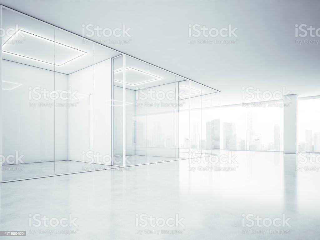 Leeres Buro Interieur Mit Grossen Fenstern 3 D Abbildung Stockfoto Und Mehr Bilder Von 2015 Istock