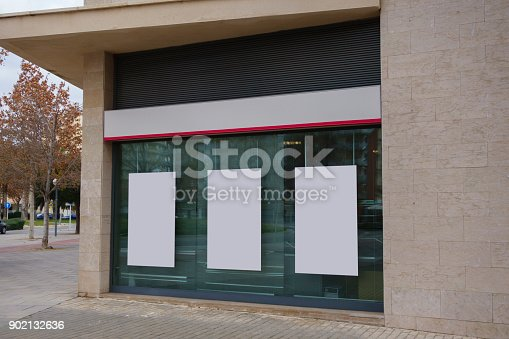 istock Blank office showcase with hanging billboards mock up 902132636