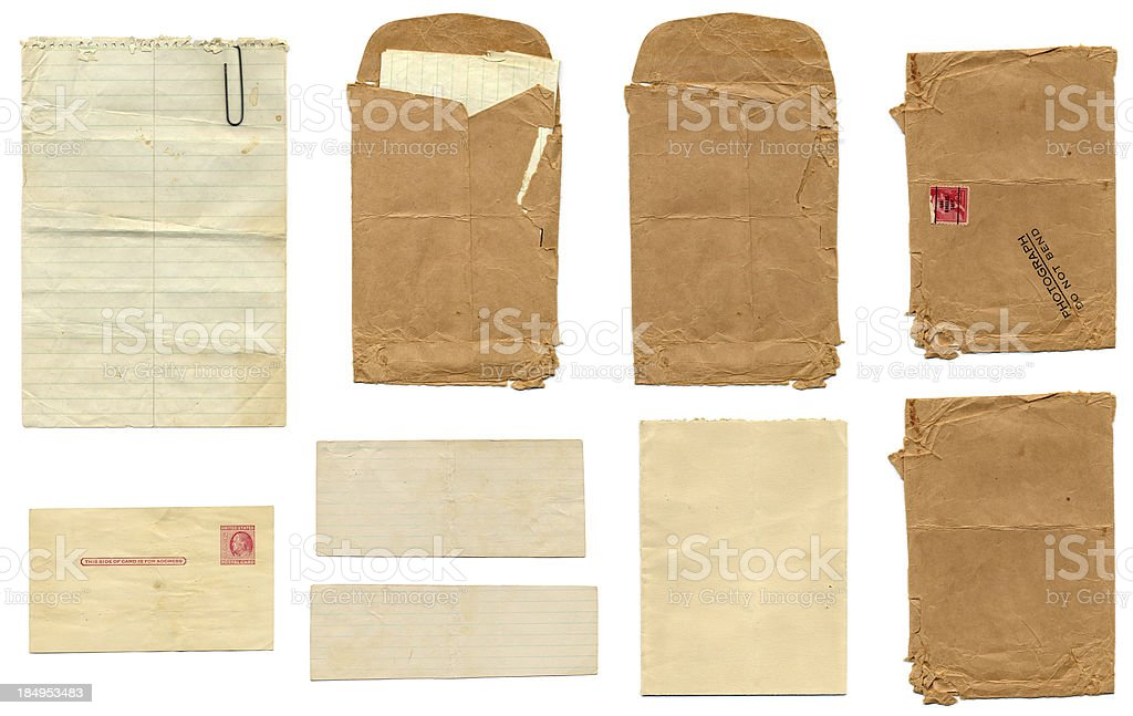 Blank, old and aged papers and envelopes and stamped postcard stock photo