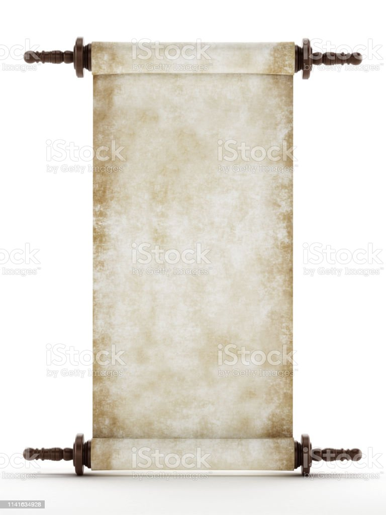 Blank Old Manuscript Page Or Parchment Isolated On White Stock Photo