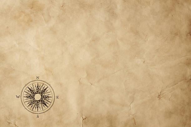 Blank old map background Old paper sheet with compass rose and copy space antediluvian stock pictures, royalty-free photos & images
