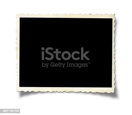 Blank old photo paper isolated on white background