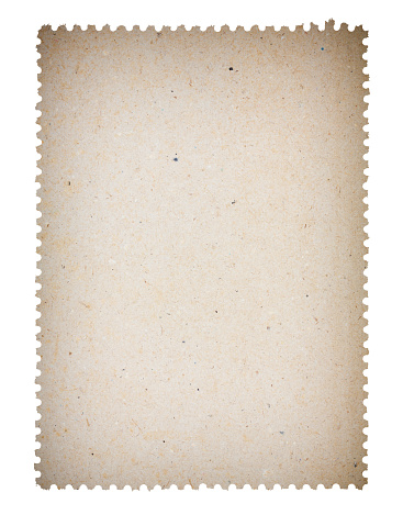 Blank old post paper stamp, isolated on white background