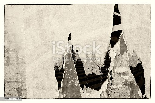 962578882 istock photo Blank old ripped torn crumpled creased posters grunge textures backdrop background frame 1023558134