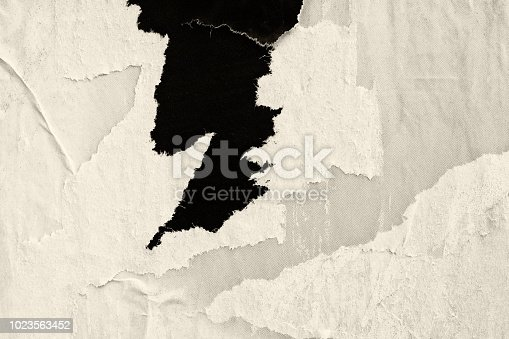 962578882 istock photo Blank old ripped torn crumpled creased posters grunge textures backdrop background frame 1023563452