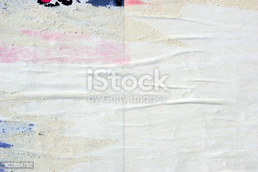 istock Blank old ripped torn crumpled creased posters grunge textures backdrop backgrounds 922854752