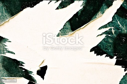 istock Blank old ripped torn crumpled creased posters grunge textures backdrop backgrounds 922857278