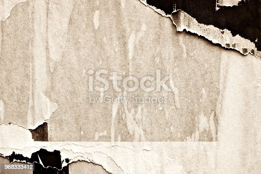 962578882 istock photo Blank old ripped torn crumpled creased posters grunge textures backdrop backgrounds 968333412