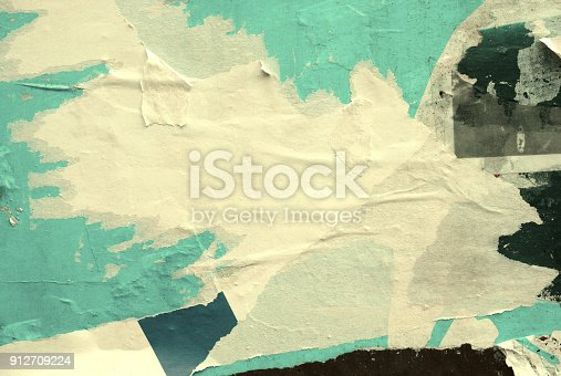 istock Blank old ripped torn crumpled posters grunge textures backgrounds 912709224