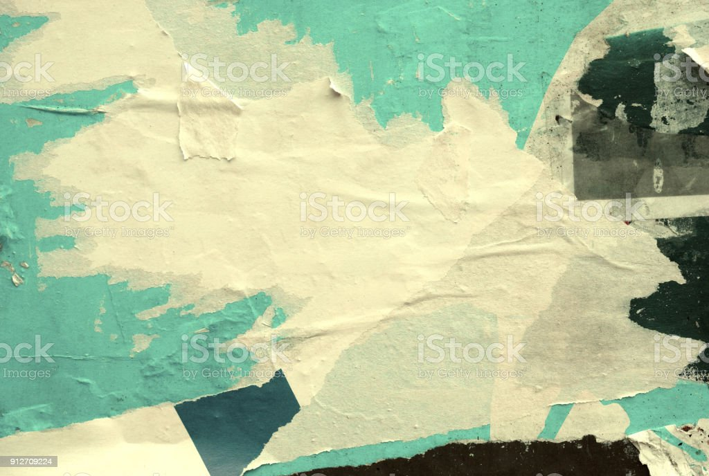 Blank old ripped torn crumpled posters grunge textures backgrounds stock photo