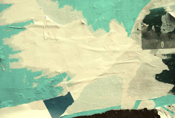 blank old ripped torn crumpled posters grunge textures backgrounds - poster stock pictures, royalty-free photos & images