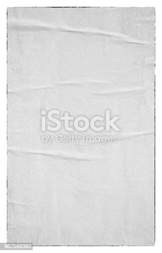 istock Blank old ripped torn paper crumpled creased posters grunge textures backdrop backgrounds 962569380