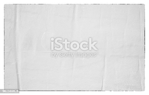 962578882 istock photo Blank old ripped torn paper crumpled creased posters grunge textures backdrop backgrounds 962569828