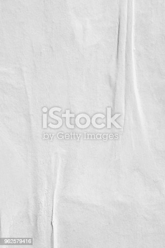 962578882 istock photo Blank old ripped torn paper crumpled creased posters grunge textures backdrop backgrounds 962579416