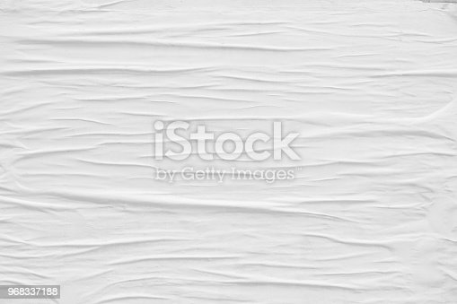 962578882 istock photo Blank old ripped torn paper crumpled creased posters grunge textures backdrop background 968337188