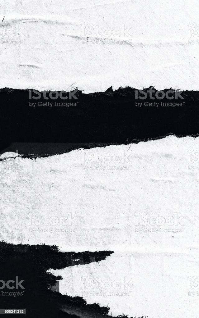 En blanco papel rasgado rotos viejo arrugado arrugado carteles grunge texturas fondo fondo foto de stock libre de derechos