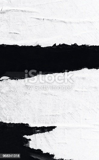 962578882 istock photo Blank old ripped torn paper crumpled creased posters grunge textures backdrop background 968341318