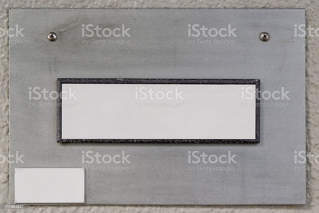 Blank old silver metal nameplate royalty-free stock photo