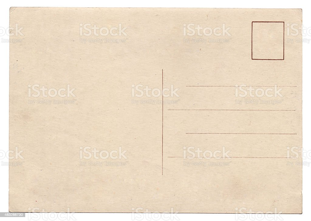 Blank old vintage postcard isolated stock photo