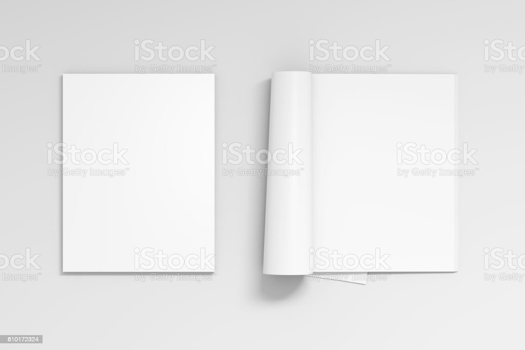 Blank open and closed magazine with glossy paper stock photo