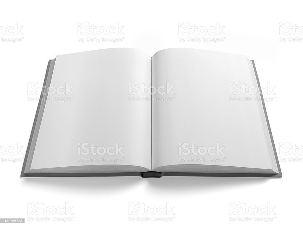 Blank Open Book Isolated on White Background with Clipping Path - Royalty-free Blank Stock Photo