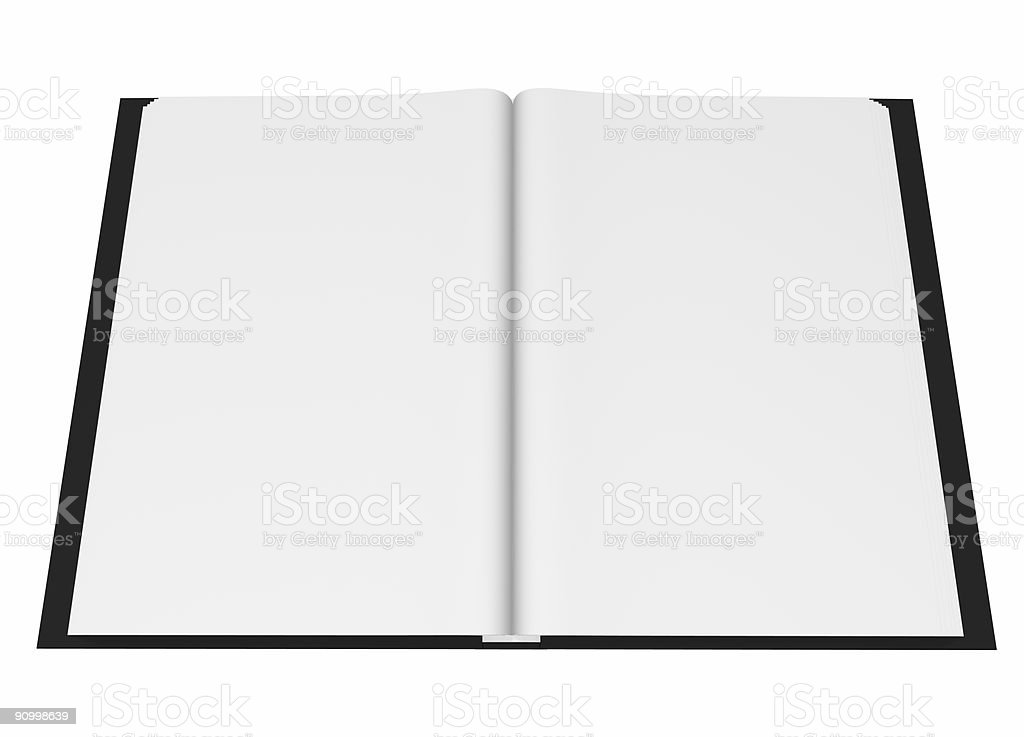 blank open book, isolated on white, cgi stock photo