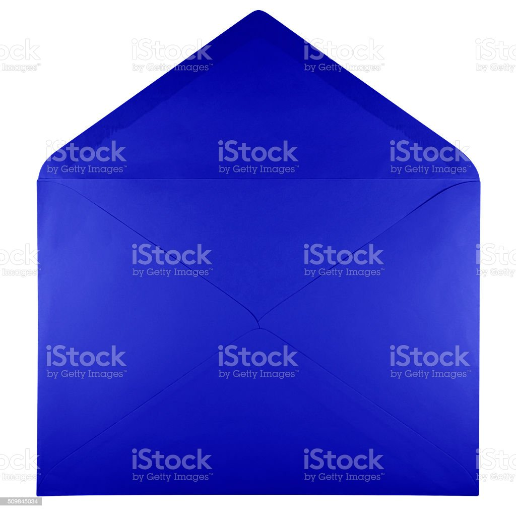 Blank open envelope - blue stock photo